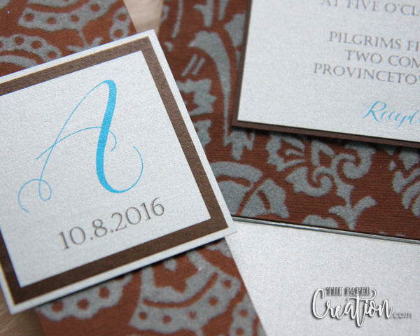 Textured Vintage Damask Wedding Invitation, Elegant Unique Invite, Blue Brown, Calligraphy, Felt Paper, Embossed