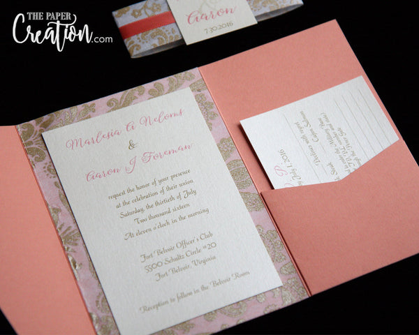Coral Gold Pocketfold Wedding Invitations, Peach, Ivory Gold Damask Pocket Invite, Belly Band Monogram Wrap, Save the Date