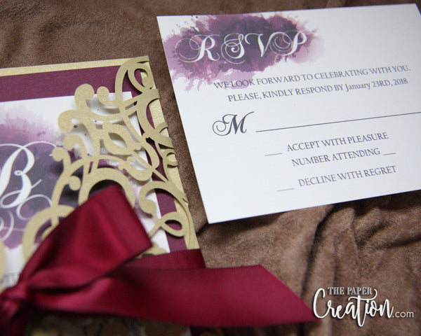 Burgundy Gold Laser Cut Wedding Invitation, Gatefold Style, Belly Band Luxury Invite, Calligraphy, Wine Marsala