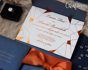 Copper Foil Stamping on Navy Pocket Wedding Invitation, Foil Printing, Foil Press, Modern Geometric Invites, Ribbon Belly Band
