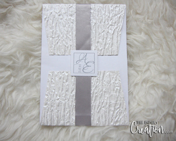 White Wrinkle Embossed Wedding Invitation