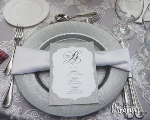 Silver Glitter Wedding Menu Card