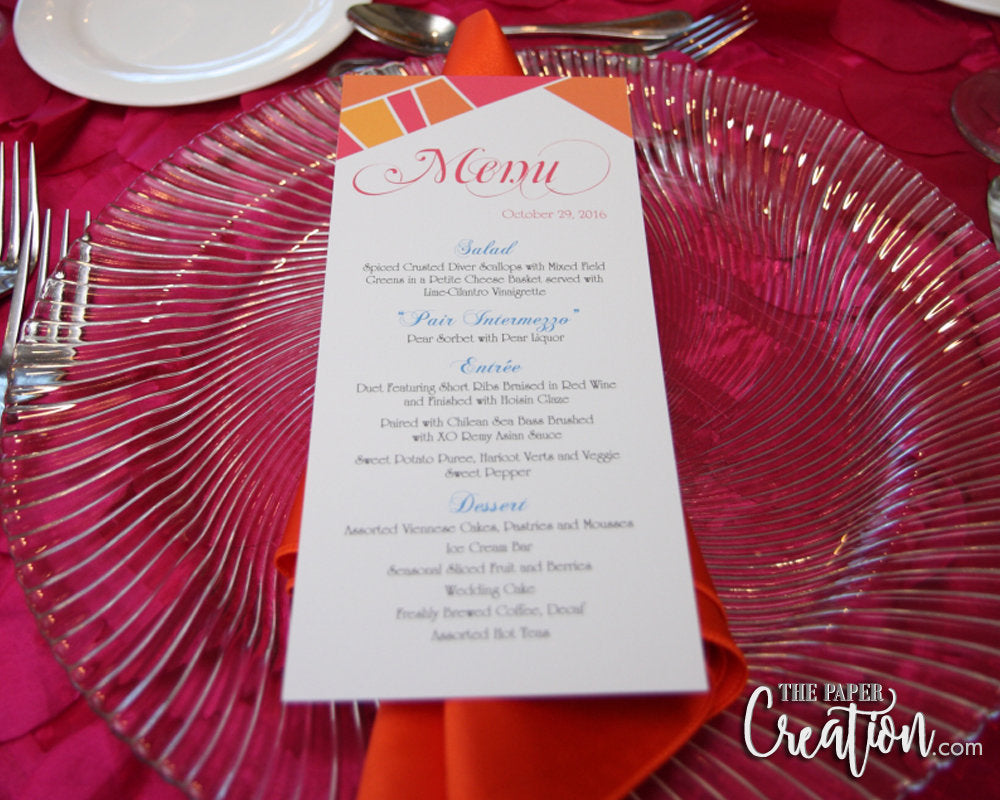 Geometric Wedding Menu Card, 4x9 Size, Orange / Fuschia / Yellow / Aqua Unique Custom Design, Modern Colorful