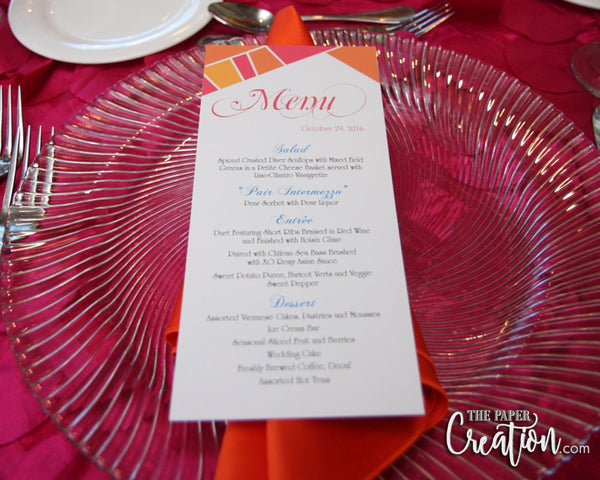 Geometric Wedding Menu Card