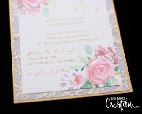 Watercolor Floral Gold Damask Wedding Invitation