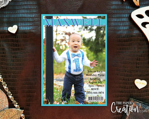 Boy Magazine Cover Printable Digital Birthday Invitation Design, Photo Invite, Personalized Birthday Invitation