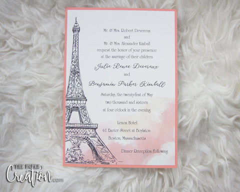 Blush Paris Watercolor Wedding Invitation, Wedding Menu, Wedding Program, Event Invite, Save the Date
