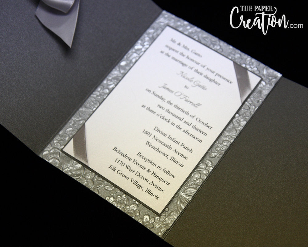 Silver Floral Embossed Wedding Invitation with Ribbon