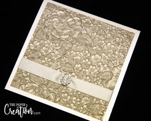 Champagne Floral Embossed Wedding Invitation