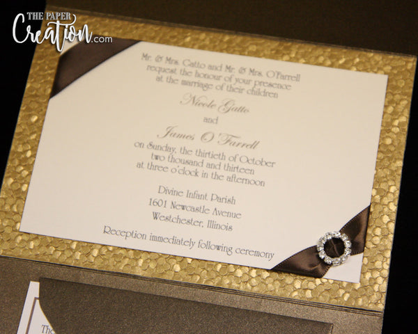 Gold Pebble Embossed Wedding Pocketfold Invitation Suite with Tag, Bronze Luxury Rhinestone Buckle Pocket Invites, Handmade Paper