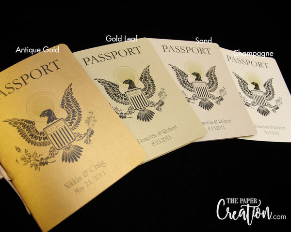 Passport Wedding Invitation Gold, Destination Luxury Travel Ticket Eagel, Boarding Pass, Save the Date, Birthday, Bridal Shower