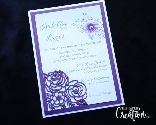 Rose Bouquet Laser Cut Wedding Invitation