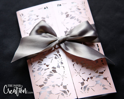 Floral Leaf Laser Cut Gatefold Wedding Invitation, Elegant Flower Blush Silver Gold Gray Invite, Bridal Shower