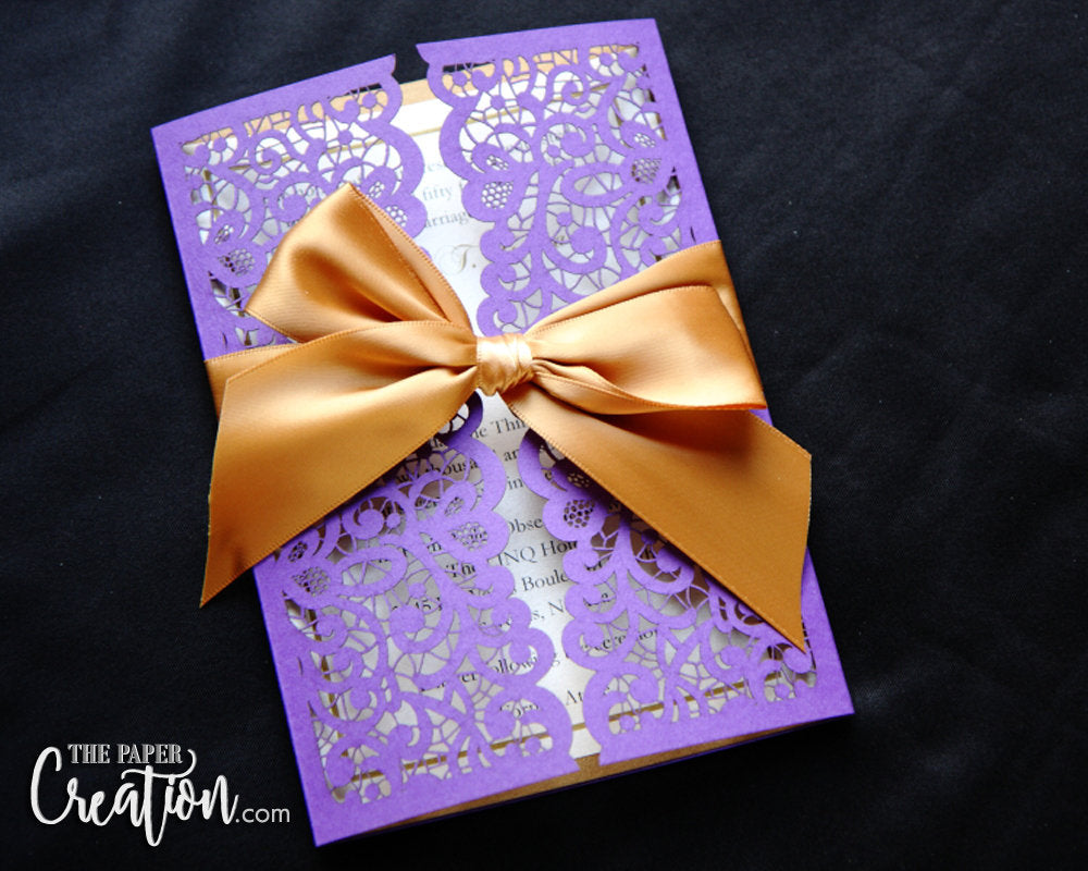 Lace Laser Cut Gatefold Wedding Invitation, Elegant Floral Flower Design Purple Gold Ribbon Belly Band Invite
