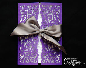 Lace Laser Cut Gatefold in Ribbon