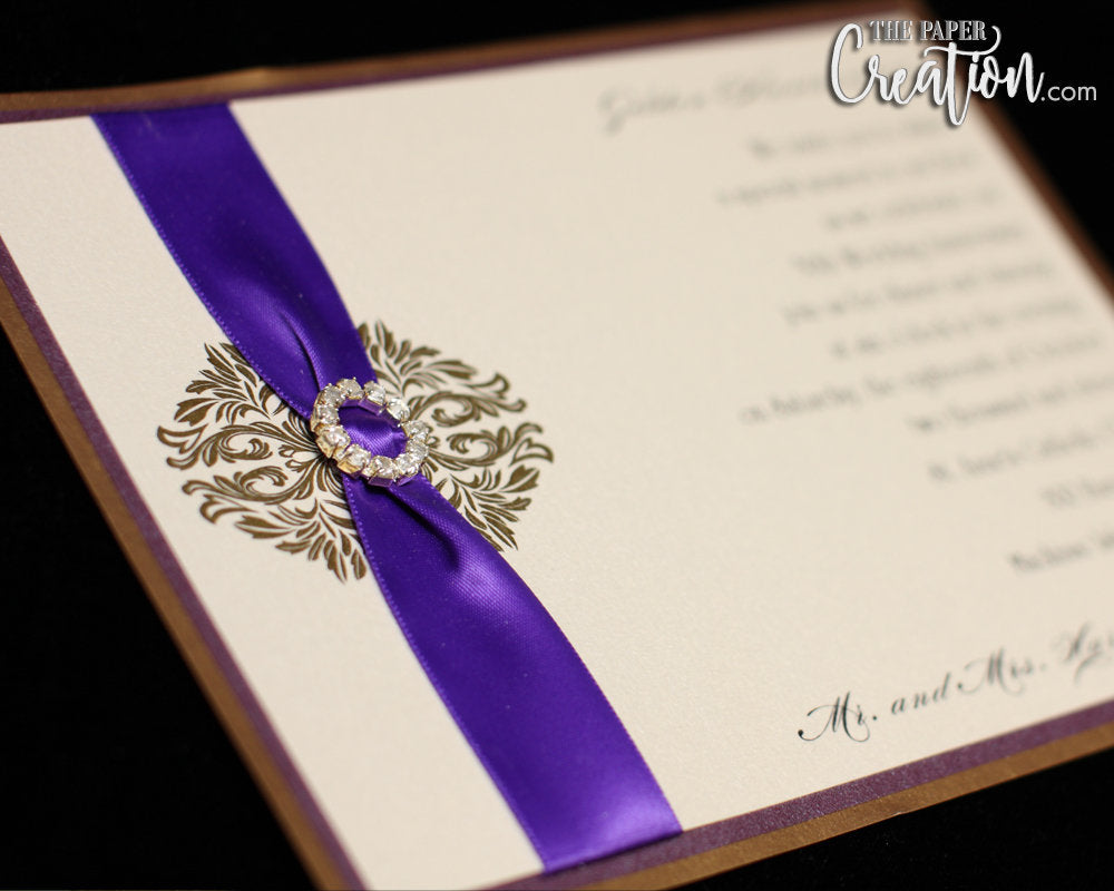 Royal Purple Gold Vintage Plum Wedding Invitation with Rhinestone Buckle, Bridal Shower, Save the Date Invite