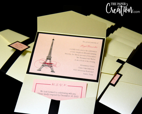 Paris France Eiffel Tower Theme Calligraphy Pocketfold Invitation, Sweet 16 Invite, Quinceanera Birthday Party Pink Brown