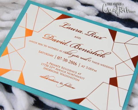 Copper Foil Stamping Aqua Teal Wedding Invitation, Foil Printing, Foil Press, Modern Geometric Invites, Save the Date