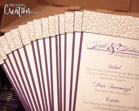 Ivory Pebble Embossed Wedding Program, White Purple, Calligraphy, Luxury Unique Design 4x9 Card