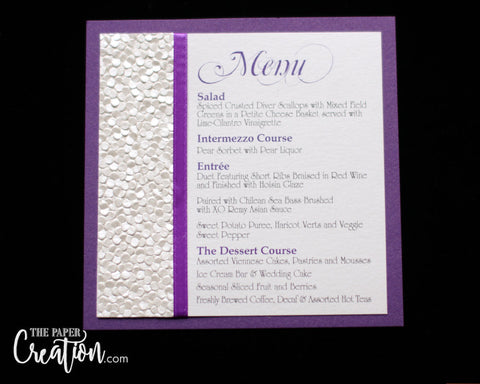 Ivory Pebble Embossed Wedding Menu Card, White Purple, Calligraphy, Luxury Unique Design, Place Card