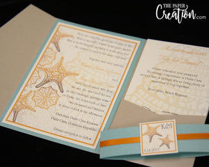 Abstract Starfish in Sand Pocketfold Wedding Invitation, Custom Coral Seafoam Star Beach Ocean Destination Invite