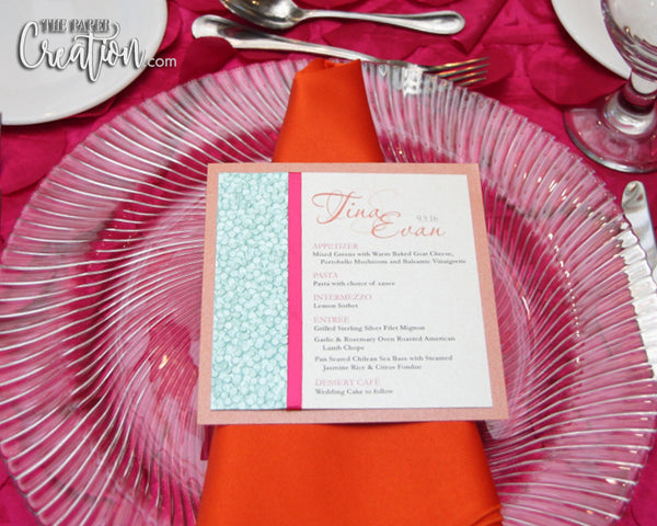 Modern Pebble Embossed Wedding Menu Card, Orange / Fuchsia / Yellow / Aqua, Luxury Place Card