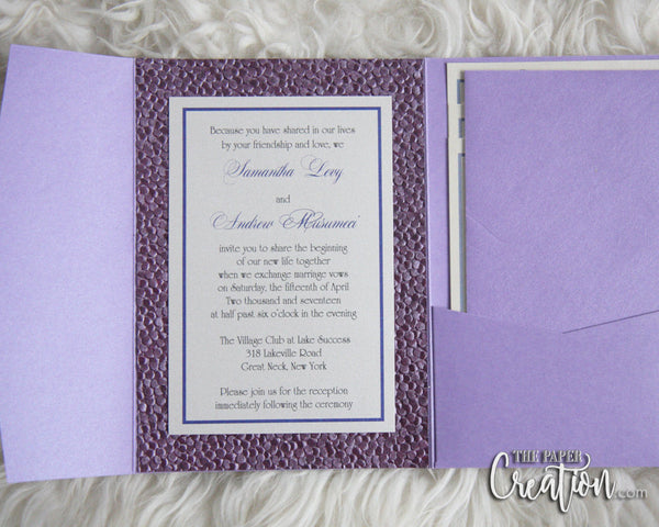 Purple Pebble Embossed Wedding Invitation Pocket Lavender Lilac Plum Metallic, Handmade Paper Luxury Invite, Bridal Shower