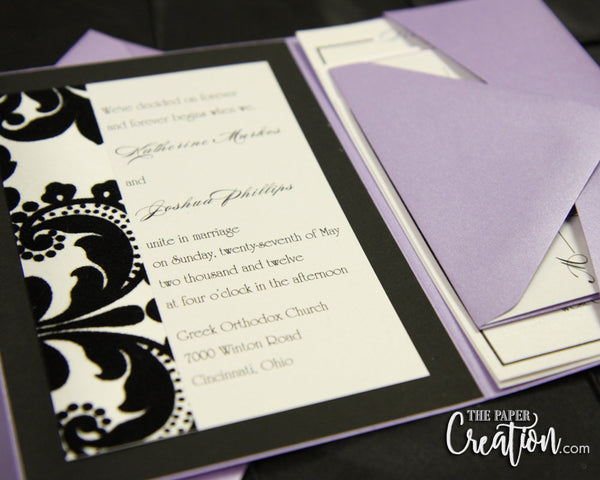 Black Velvet Pocketfold Wedding Invitation