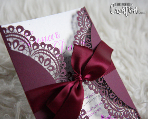 Doiley Laser Cut Foil Stamping Wedding Invitation, Gatefold, Modern, Elegant Design Burgundy Customize Personalised Invite
