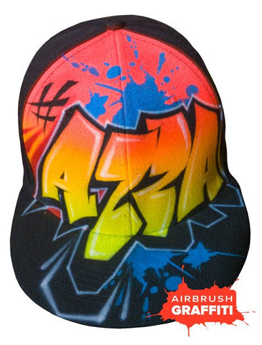 Custom Graffiti Hat - Yellow Red - Blue Splats