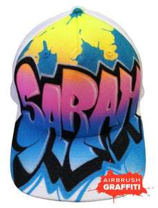 Custom Graffiti Hat - Baby Blue Pink Yellow - Blue Splats