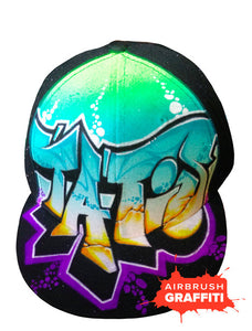 Custom Graffiti Hat - Teal Greens - Purple Splats