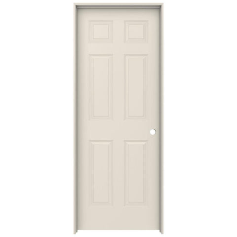 30in x 80in in 6 Panel Primed Texture  MDF Left Handed Interior Door