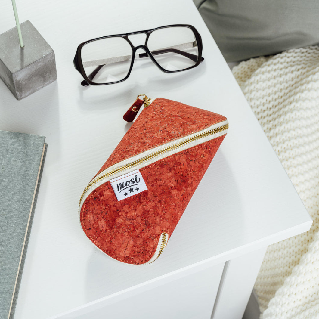 XL Cork Glasses & Sunglasses Case - Red