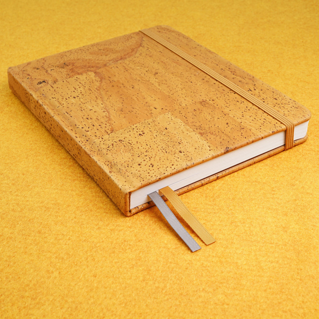Cork bound notebook with lined pages and back pocket - Ochre