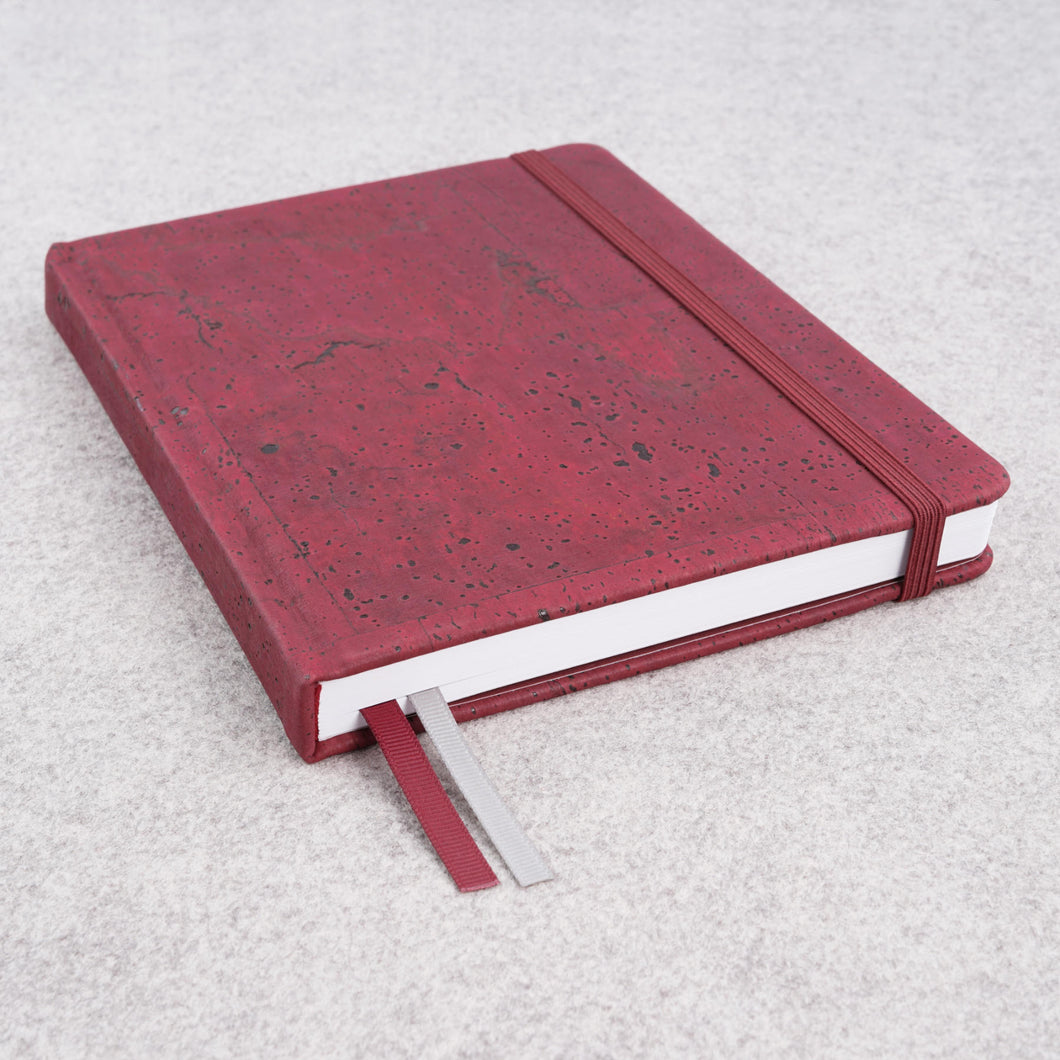 Cork bound notebook with lined pages and back pocket - Wine