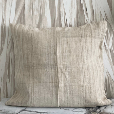 Beige Hemp Variated Stripe Pillow