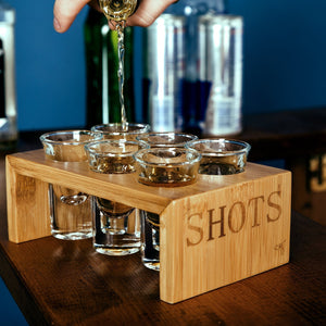Shot Glass Set (6 Glasses) in Stylish Vintage Bamboo Shot Glass Holder