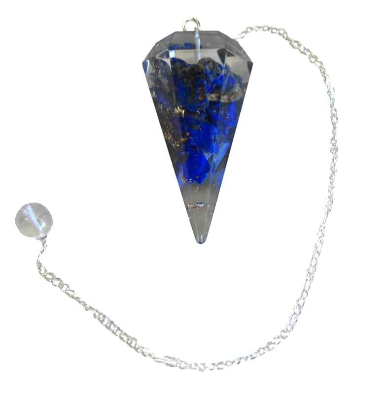 Lapis Orgonite 6 side Pendulum | Divination Tool | Dowsing | Natural Gemstone | Chain | Energy Healing | Scrying | Pagan | Wicca | Occult