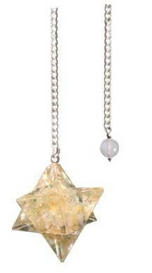 Merkabah Citrine Orgonite Pendulum | Divination Tool | Dowsing | Natural Gemstone | Chain | EnergyHealing | Scrying | Pagan | Wicca | Occult