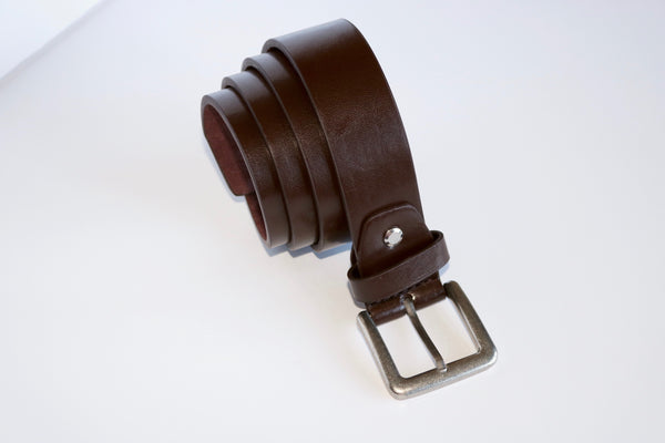"1.25"" Leather Look Belt, Black and Brown"