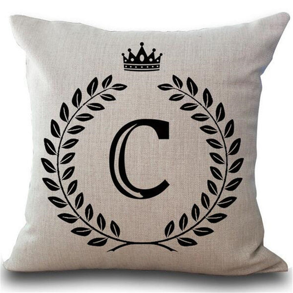 Cotton Linen Initial Cushion Cover