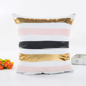Striped, Gold Foil & Pastel Cushion Cover