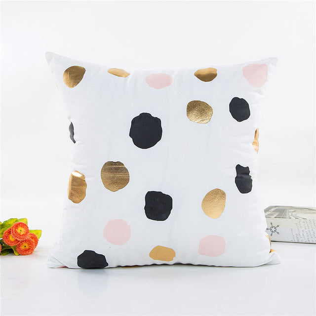 Gold Foil & Pastel Spotty Print Cushion Cover