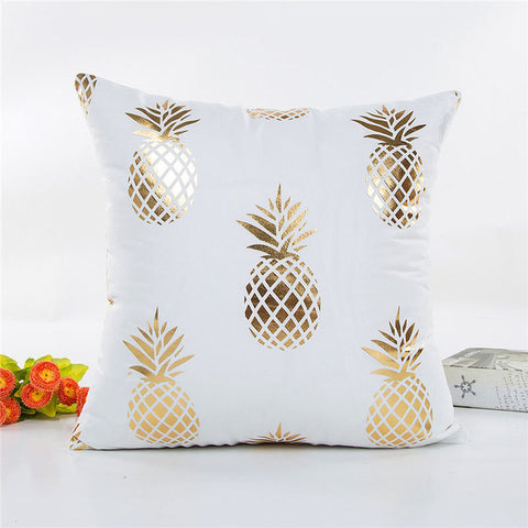 Gold Foil Pineapple Print Cushion Cover