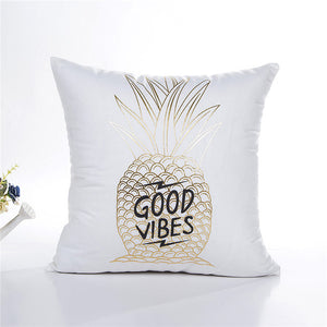 Gold Foil Good Vibes Pineapple Cushion Cover