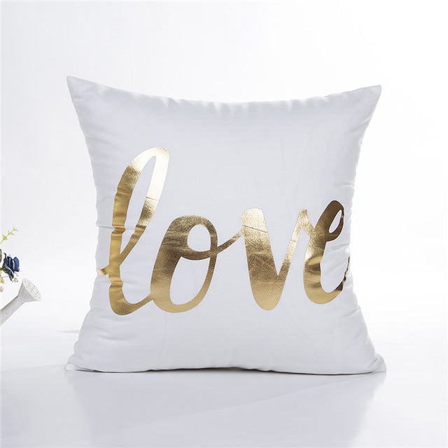 Gold Foil Love Cushion Cover