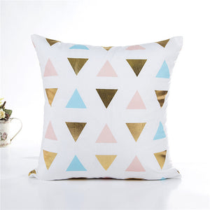 Gold Foil & Pastel Geometric Print Cushion Cover