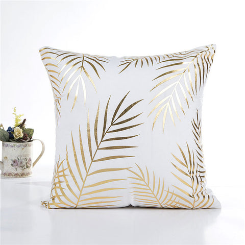 Gold Foil Palm Leaf Cushion Cover