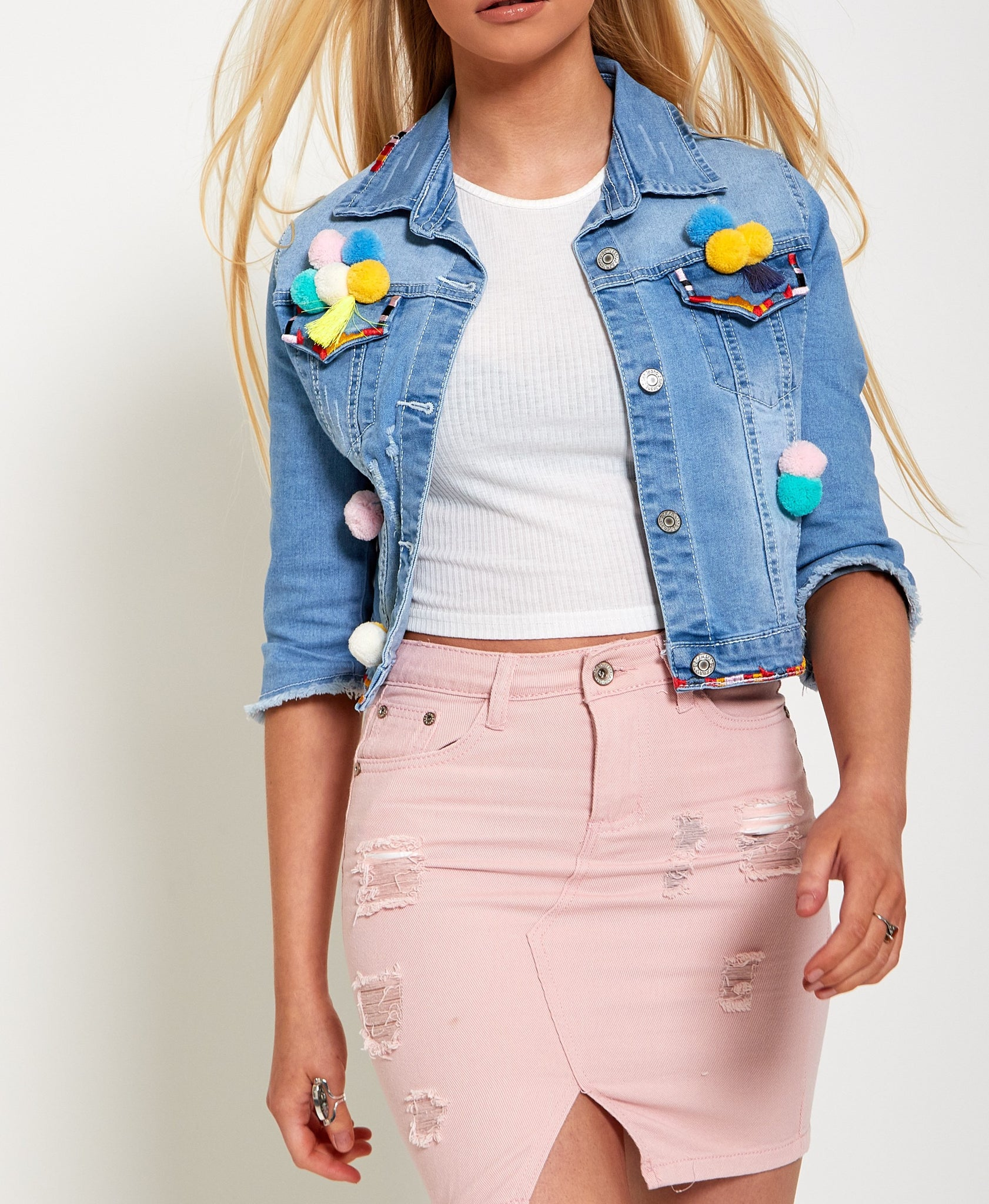 Pom Pom Short Denim Jacket